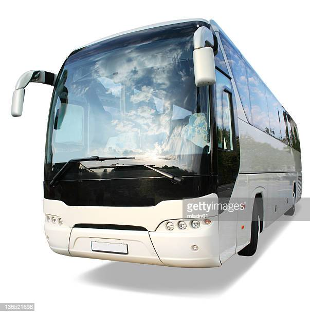 large white travel bus on white background - coach bus stock photos and pictures