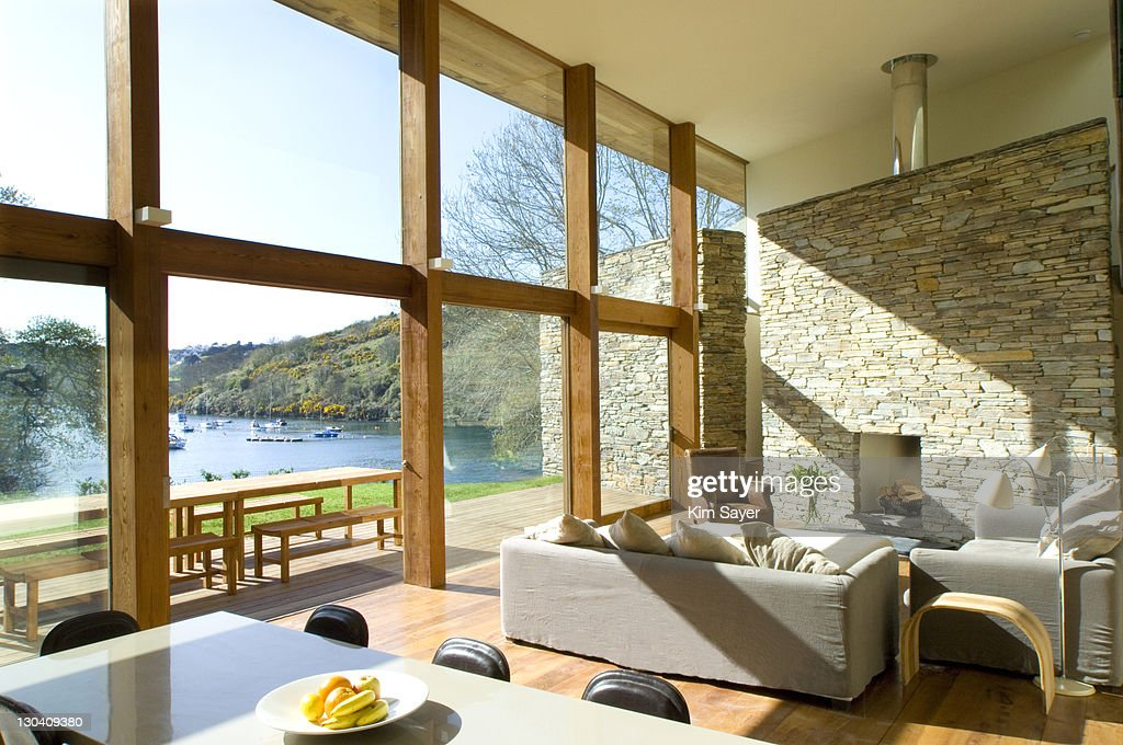 Large Windows In Modern Living Room Stock Photo Getty Images