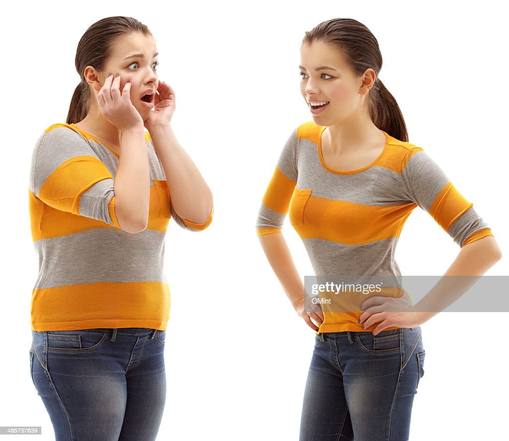 Large woman standing in front of slim girl : Stock Photo