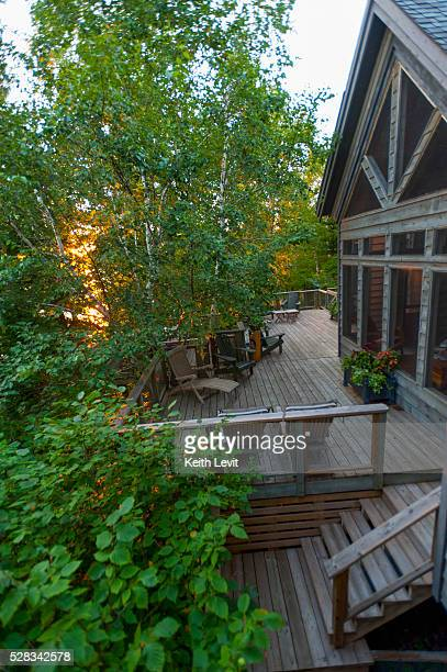 Large wooden deck on the back of a house; lake of the woods ontario canada