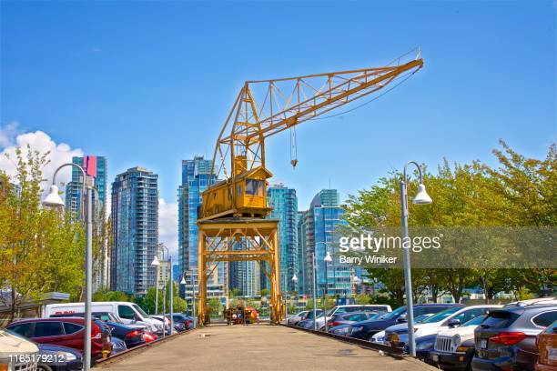 Large yellow crane on Granville Island, Vancouver, British Columbia