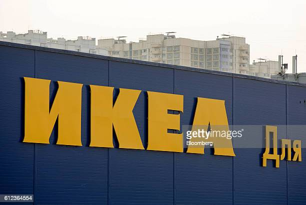 A large yellow Ikea logo sits on display outside the Ikea AB retail store in Khimki Russia on Monday Oct 3 2016 Ikea's Russia unit may spend 100...