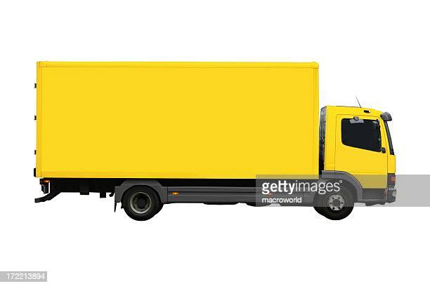 Large, yellow moving truck isolated