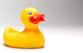 large rubber duck sitting white background