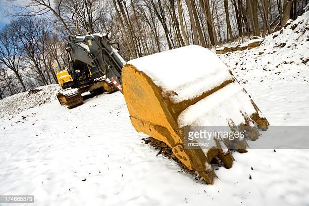 Große Backhoe im Schnee