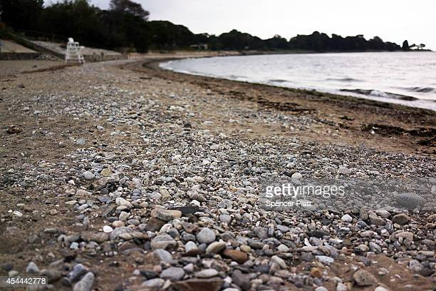 A largely empty beach is shown on August 31 2014 in Westport Connecticut Beachgoing has been largely subdued this Labor Day weekend for much of the...