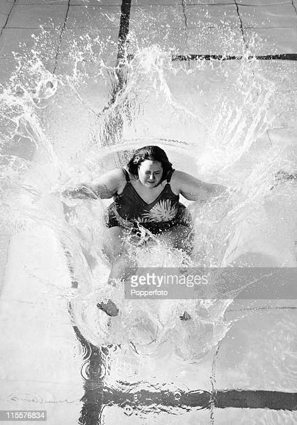 Largerthanlife model Fran Fullenwider takes the plunge to promote her new job with the model agency Ugly in London on 30th April 1970