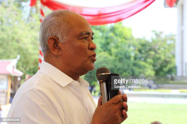 Largest opposition party in Cambodia, Cambodia National Rescue Party Vice President Pol Ham speaks to participants during a memorial service to mark...
