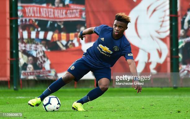 Largie Ramazani of Manchester United U18s in action during the U18 Premier League Cup Quarter Final at Kirkby Training Ground January 26 2019 in...