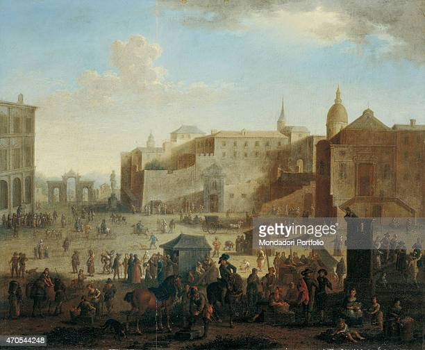 'Largo di Palazzo by unknown artist c 1670 17th Century oil on canvas 52 x 63 cm Private collection Whole artwork view View of Largo Palazzo the...