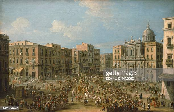 Largo San Ferdinando in Naples showing the Royal Procession for the carnival by Antonio Joli Italy 18th century detail