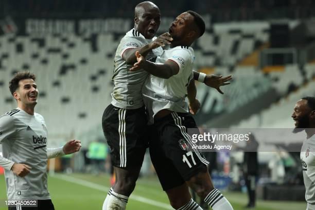 Larin of Besiktas celebrates with his team mates after scoring a goal during Turkish Super Lig soccer week 17 match between Besiktas and Caykur...