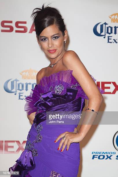 Larisa Riquelme attends the pressroom during the 8th Annual Premios Fox Sports Awards at Seminole Hard Rock Hotel on December 14 2010 in Hollywood...