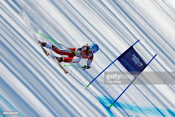 Larisa Yurkiw of Canada in action during the Alpine Skiing Women's SuperG on day 8 of the Sochi 2014 Winter Olympics at Rosa Khutor Alpine Center on...