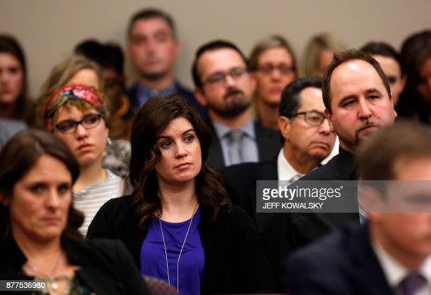 Larissa Boyce a former gymnast sexually abused by Larry Nassar the former physician for the US womens gymnastics team attends a hearing of Nassar's...