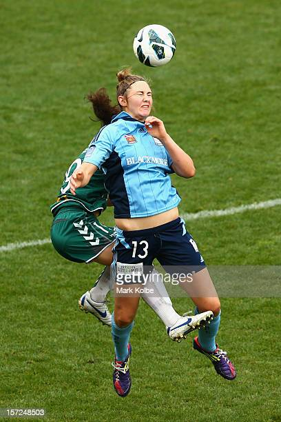 Larissa Crummer of Sydney FC heads the ball during the round seven W-League match between Sydney FC and Canberra United at Leichhardt Oval on...