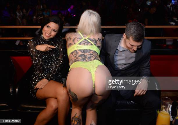 Larissa Dos Santos and Eric receive a lap dance during her official divorce party at the Crazy Horse 3 Gentlemen's Club on March 02 2019 in Las Vegas...