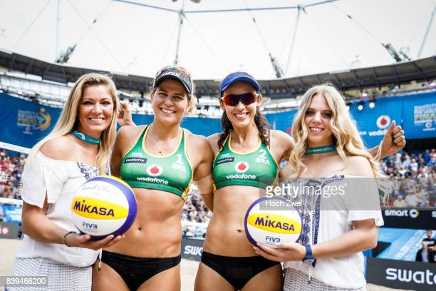 Larissa Franca Maestrini and Talita Da Rocha Antunes of Brazil seen during Day 4 of the Swatch Beach Volleyball FIVB World Tour Finals Hamburg 2017...