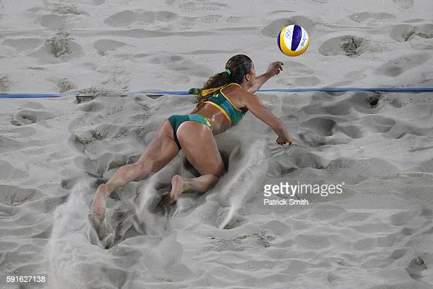 Larissa Franca Maestrini of Brazil attempts to play a shot during the Beach Volleyball Women's Bronze medal match against Kerri Walsh Jennings of the...