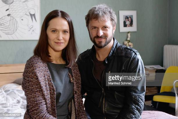 Larissa Fuchs and Philipp Hochmair pose during a photo call on set for 'Glueck gehabt' on January 18, 2019 in Vienna, Austria.