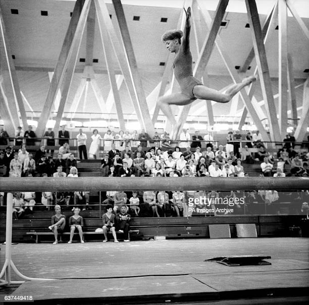 Larissa Latynina a member of the Russian team who gave a gymnastic display at the festival in action on the beam