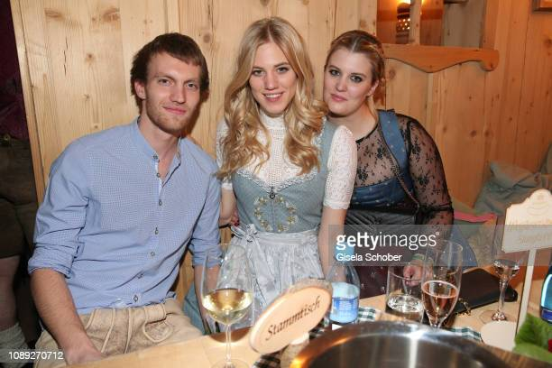 Larissa Marolt and her brother Maximilian and her sister Lisa during the 28th Weisswurstparty at Hotel Stanglwirt on January 25 2019 in Going near...