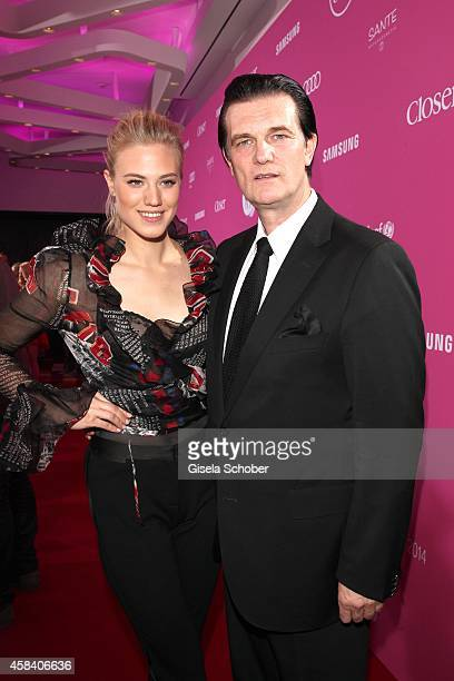 Larissa Marolt and her father and manager Heinz Anton Marolt attend the CLOSER Magazin Hosts SMILE Award 2014 at Hotel Vier Jahreszeiten on November...