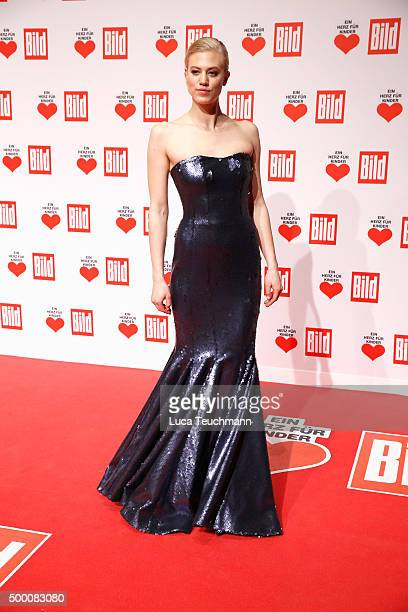 Larissa Marolt arrives for the Ein Herz Fuer Kinder Gala 2015 at Tempelhof Airport on December 5 2015 in Berlin Germany