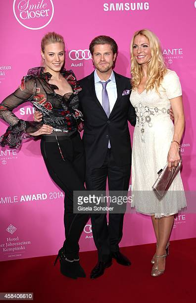 Larissa Marolt Paul Janke Sonya Kraus attend the CLOSER Magazin Hosts SMILE Award 2014 at Hotel Vier Jahreszeiten on November 4 2014 in Munich Germany