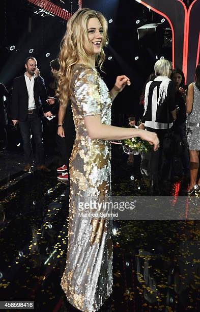 Larissa Marolt poses for a photograph during the 'Die Grosse Chance' TVShow final at ORF Zentrum on November 7 2014 in Vienna Austria