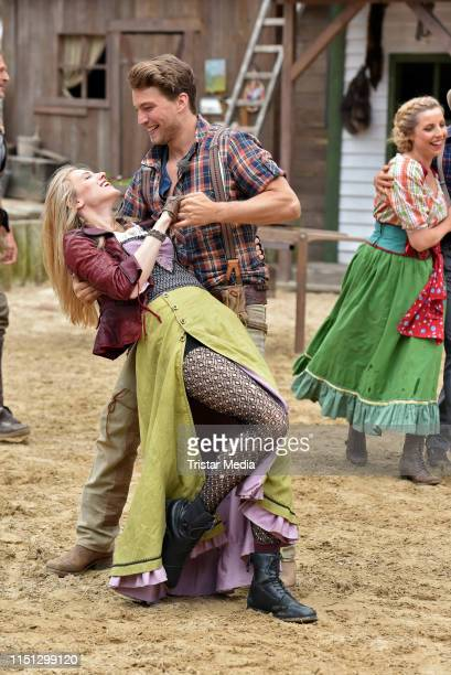 Larissa Marolt, Raul Richter during the press rehearsal for the Karl-May-Play 'Unter Geiern - Der Sohn des Baerenjaegers' on June 21, 2019 in Bad...