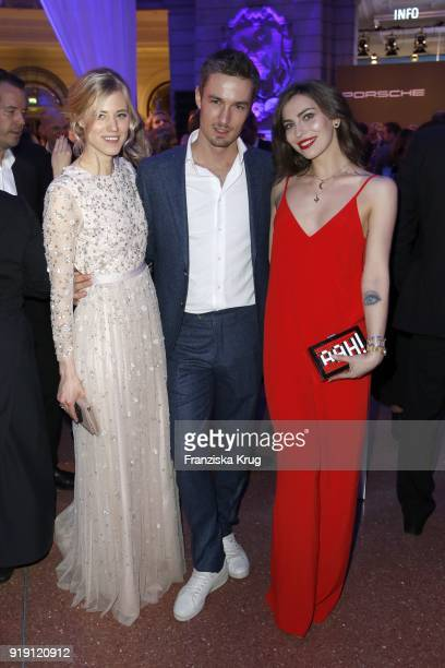 Larissa Marolt Simon Lohmeyer and Masha Sedgwick attend the Porsche at Blue Hour Party hosted by ARD during the 68th Berlinale International Film...