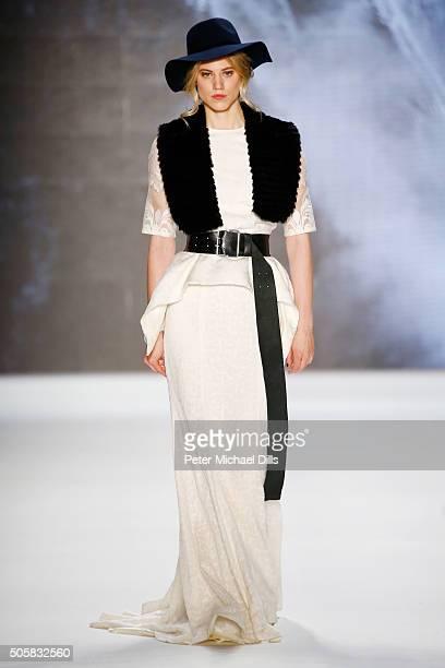 Larissa Marolt walks the runway at the Rebekka Ruetz show during the MercedesBenz Fashion Week Berlin Autumn/Winter 2016 at Brandenburg Gate on...