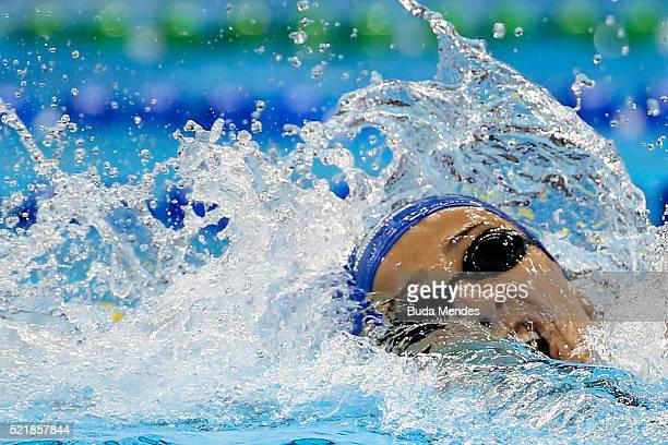 Larissa Martins Oliveira of Brazil swims the Women's 200m Freestyle heats during the Maria Lenk Trophy competition at the Aquece Rio Test Event for...