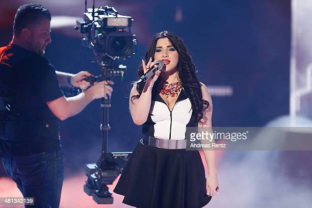 Larissa Melody Haase performs at the rehearsal for the 1st 'Deutschland sucht den Superstar' show at Coloneum on March 29 2014 in Cologne Germany