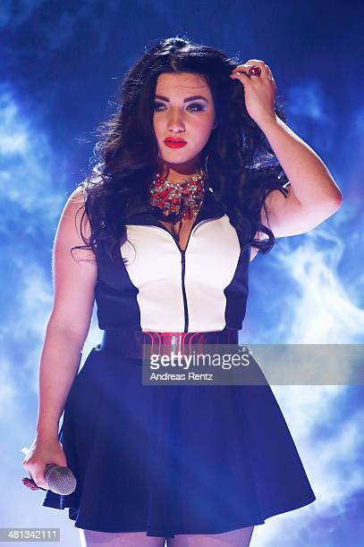 Larissa Melody Haase reacts at the rehearsal for the 1st 'Deutschland sucht den Superstar' show at Coloneum on March 29 2014 in Cologne Germany