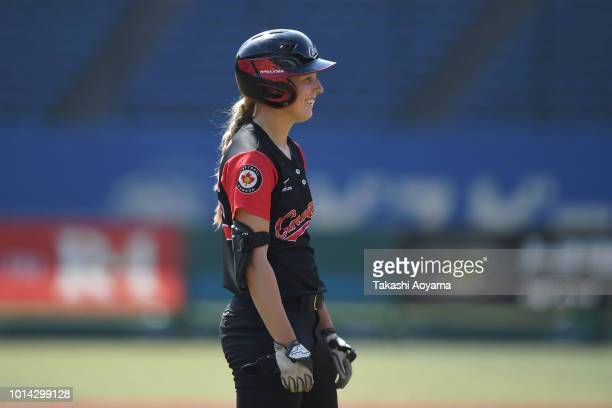 Larissa Nadine Franklin of Canada celebrates after hitting game winning RBI double in the fifth inning against Netherlands during their Playoff Round...