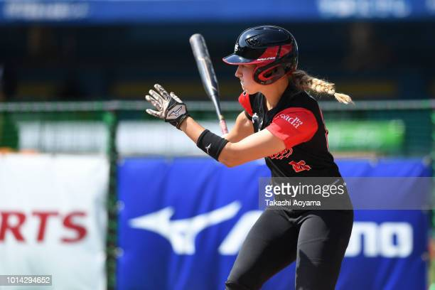 Larissa Nadine Franklin of Canada hits game winning RBI double in the fifth inning against Netherlands during their Playoff Round at ZOZO Marine...