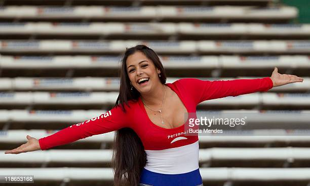 Larissa Riquelme fan of Paraguay during a match between Brazil andv Paraguay as part of Group B of Copa America 2011 at the Mario Kempes Stadium on...