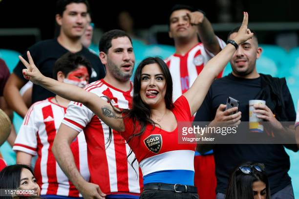 Larissa Riquelme Paraguayan model and actress smiles prior to the Copa America Brazil 2019 group B match between Colombia and Paraguay at Arena Fonte...