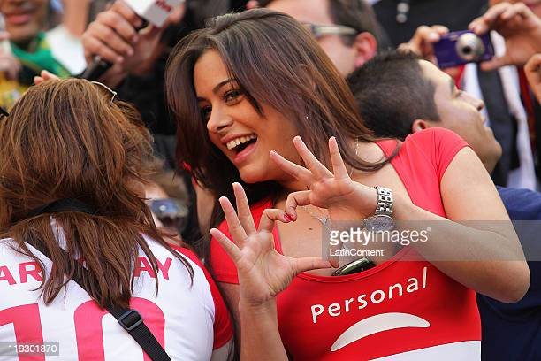 Larissa Riquelme supporter of Paraguay before a quarter final match between Brazil and Paraguay as part of the Copa America 2011 at Ciudad de La...
