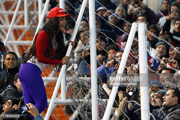 Larissa Riquelme supporter of paraguay during a semi final match at Malvinas Argentinas Stadium on July 20 2011 in Mendoza Argentina