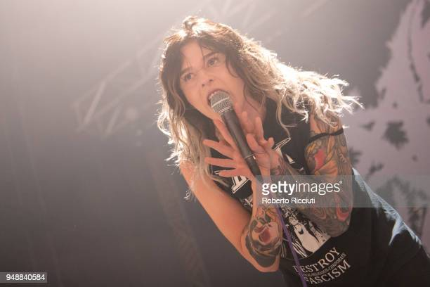 Larissa Stupar of Venom Prison performs on stage at O2 Academy on April 19 2018 in Glasgow Scotland