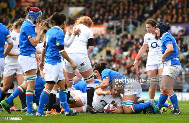 Lark Davies of England celebrates her sides second try during the Womens Six Nations match between England and Italy at Sandy Park on March 09 2019...