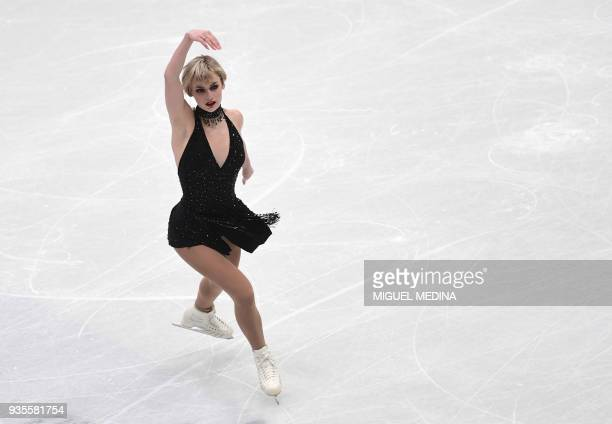 Larkyn Austman from Canada performs on March 21 2018 during the Ladies figure skating short program at the Milano ISU Figure Skating World...