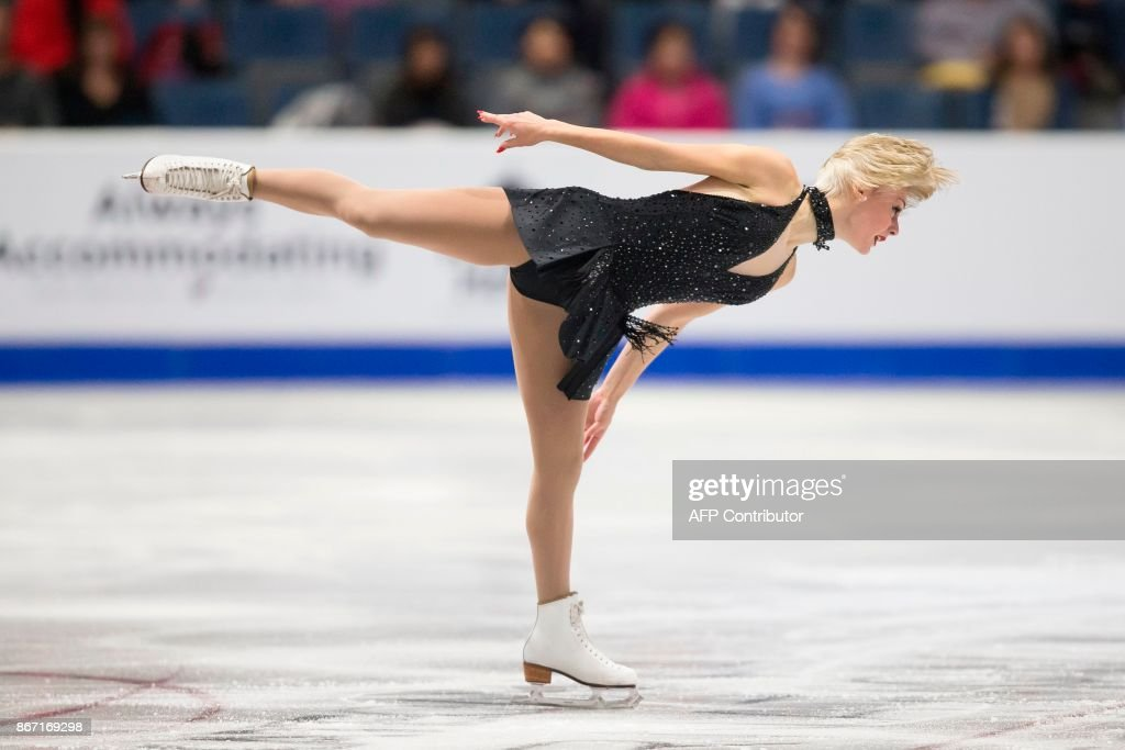 Larkyn Austman of Canada skates her short program at the 2017 Skate Canada International ISU Grand Prix event in Regina, Saskatchewan on October 27, 2017. / AFP PHOTO / Geoff Robins