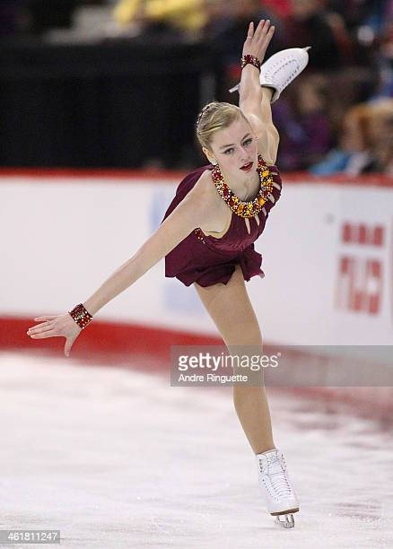 Larkyn Austman skates in the Senior Women Free Program during the 2014 Canadian Tire National Figure Skating Championships at Canadian Tire Centre on...