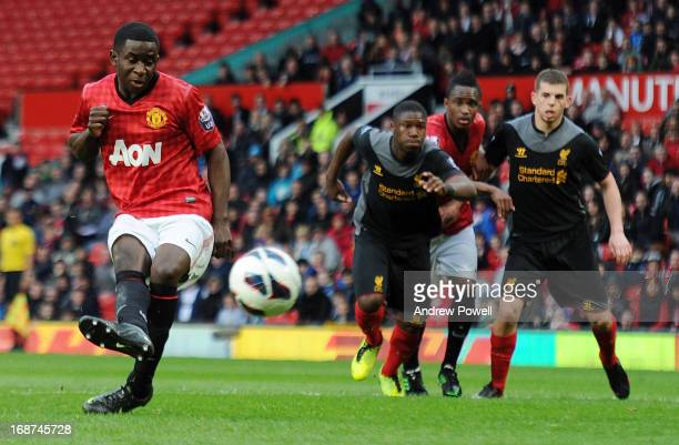 Larnell Cole of Manchester United scores the second goal from the spot during the Barclays Under21 Premier League Elite Group Semi Final at Old...