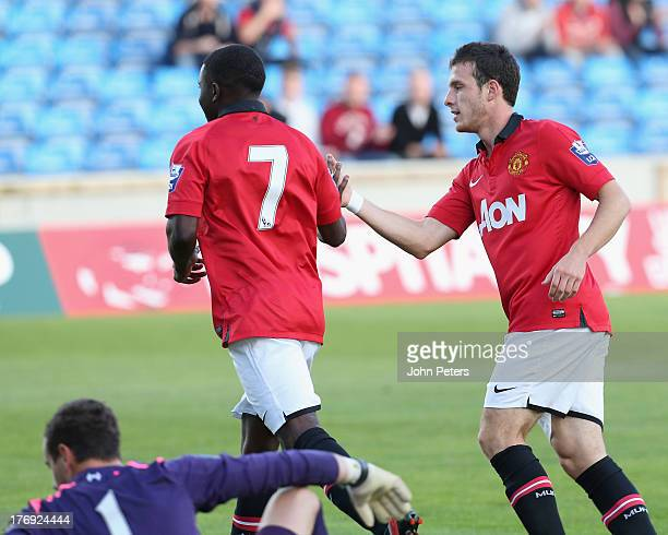 Larnell Cole of Manchester United U21s celebrates scoring their first goal during the Barclays U21s Premier League match between Manchester United...