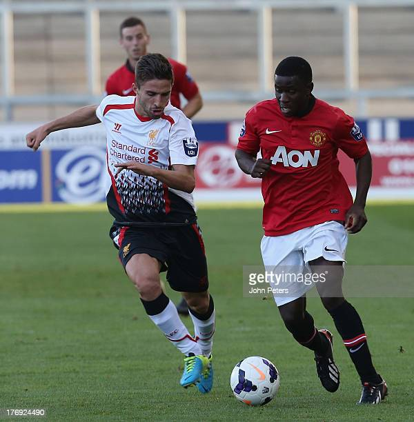 Larnell Cole of Manchester United U21s in action during the Barclays U21s Premier League match between Manchester United U21s and Liverpool U21s at...
